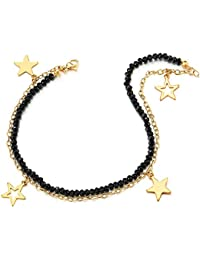 COOLSTEELANDBEYOND Oro Acero Inoxidable Negro Cristal Perla Cadena Dos Hileras Tobillera para Mujer con Colgantes Pentagrama Estrella Charm
