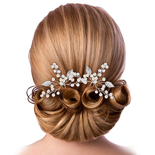Lelengder Haarnadeln Hochzeit, Silber & Perlen, Originelles Design   Kopfschmuck Hochzeit, Haarschmuck Silber, Haarkamm, Haarspangen Damen