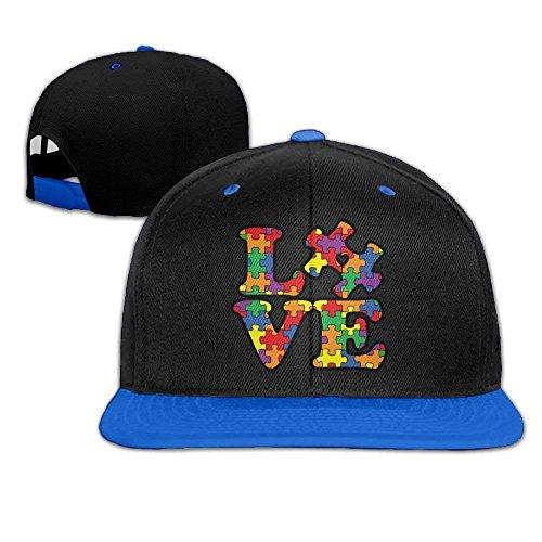fboylovefor Unisex Autism Awareness Puzzle Piece Adjustable Hip Hop Flat Brim Baseball Caps, Snapback Hats