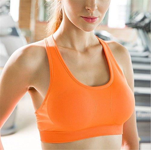 Swallowuk Damen Sport BH Keine Felgen Yoga-Kleidung Fitness Laufweste (L, Orange)