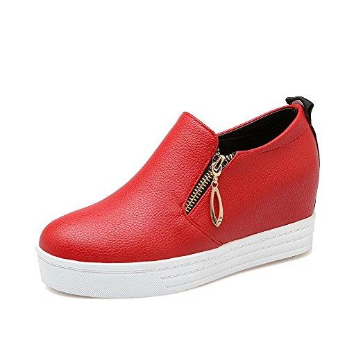 VogueZone009 Femme Zip à Talon Correct Pu Cuir Couleur Unie Fermeture D'Orteil Rond Chaussures Légeres Rouge