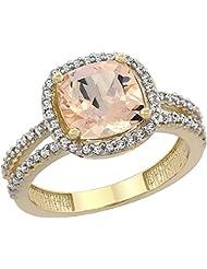 14ct oro amarillo Natural anillo de colgantes 8 x 8 mm cushion-cut 2-hileras de diamantes, de tallas J - T