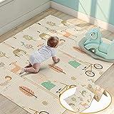 Tapis de jeu pour bébé, mousse de tapis de jeu XPE mousse imperméable à l'eau extra large et réversible, tapis de jeu pliable antidérapant(150x180x1cm)