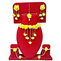 Urbalaa Floret Yellow Gota Patti Necklace, Earrings, Bracelet & Maang Tika for Women & Girls (Mehandi/Haldi)