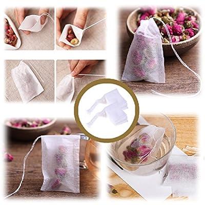 Coscosx jetables 100pcs Cordon de serrage Sacs, filtre à thé Infuseur à thé vide Heat Seal Sac pour herbes aromatiques et thé en vrac