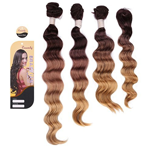# 4/10/27 (Marron foncé à Blond Caramel) de cheveux Trames (35,6 cm 40,6 cm 45,7 cm) Courroie Wave trame Extensions