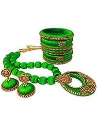 Jazz Fashions Green Designer Fashion Silk Thread Jewellery Set With Jhumki And Bangles For Women