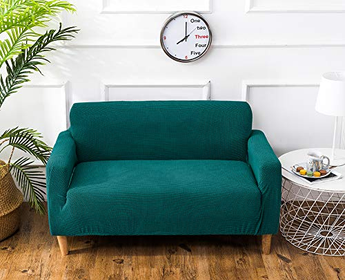 TSSCY Sofa Überwurf Anti-rutsch,Couch-Decken Stretch hussen Stuhl beschützer Sofa wirft Möbel Sessel Loveseat Sofa wirft Anti-mite Polyester-dunkelgrün 2 Sitzer