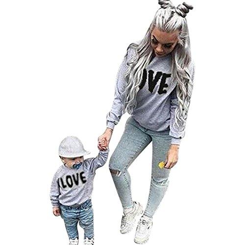 Ropa para toda la familia, Yannerr bebé niño chica mujeres hombre madre hija manga larga invierno emparejar traje sudadera Carta Tops pijamas conjunto (Negro, M)