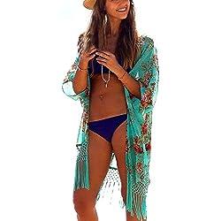 Aimerfeel Beach Cover Up para Mujer Suelta Ropa de Playa Encubrimiento de Baño Bikini Vestido para la Playa, un Tamaño cabido Reino Unido 38-46, Verde