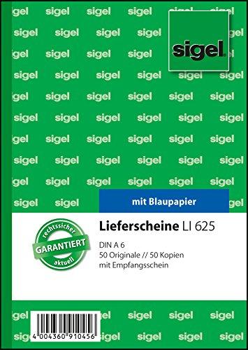 Preisvergleich Produktbild Sigel LI625 Lieferscheine mit Empfangsschein, A6, 2x50 Blatt, 1 Stück