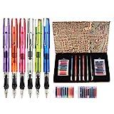 GCQUILL Kalligraphie Stift Tinte Set Füllfederhalter Set Vintage Schreibfeder mit 6 Stifte & 20 Mehrfarbig Tinte Beutel Geschenk für Anfänger Geburtstag Weihnachten Neujahr