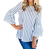 Damen Bluse Xiantime Damen Mode O Hals Lange Aufflackernhülse Gestreiften Top Casual Bluse Tops T-Shirt S-XL