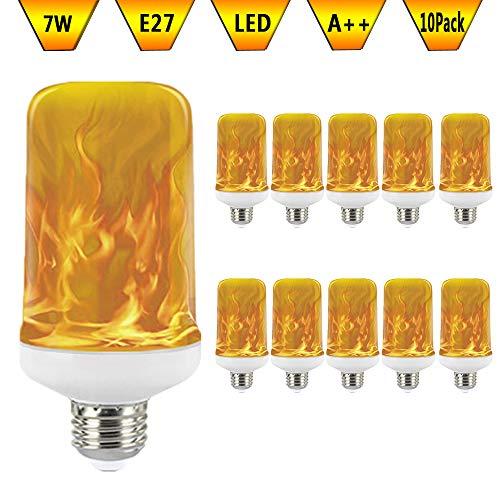 KAWER Bombilla de llama LED E27 7W Inteligente Luz con 3 Modos...