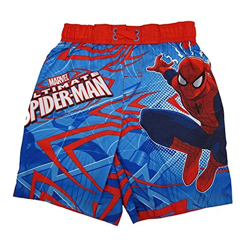 Marvels Little Boys Red Blue Ultimate Spiderman Adjustable Swim Shorts 4T (4t Trunk Swim)
