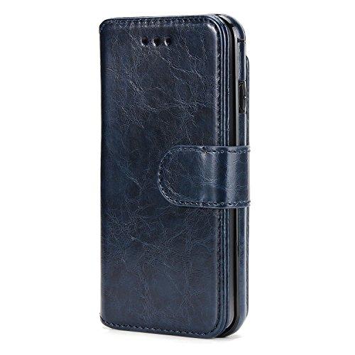 BCIT iPhone 6 Leder Handytasche - Geldbörse mit Kartenfach abnehmbar Magnet Handy Schutzhülle für iPhone 6 - Blau Blau
