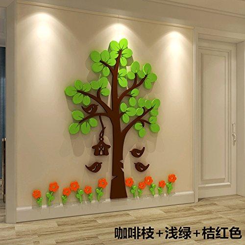 3d-große Bäume an der Wand Crystal Acryl Schlafzimmer Wohnzimmer Sofa tv Hintergrund Selbstklebende dekoratives Papier, Kaffee sticks + Licht grün + Orange, König ()