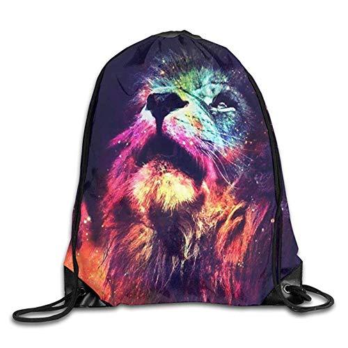 HLKPE Rainbow Lion Face Drawstring Backpack Gym Bag Travel Backpack Purple Lotus Mandala Small Drawstring Backpacks Women Men Adults