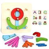 Giochi Legno Puzzle Costruzioni Lettere e Numeri Forma in Legno Jigsaw Puzzle per Bambini 3 4 5+ Anni