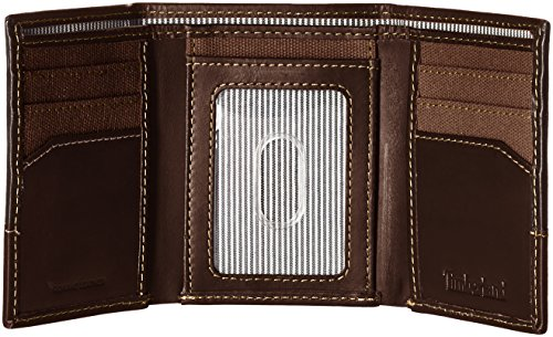 Timberland Men s Canvas   Leather Trifold Wallet  Dark Earth  One Size