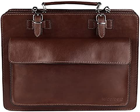 'Valentino' briefcase/messenger bag vachetta leather (real leather), Color:Brown (Brown Leather Messenger Bag)