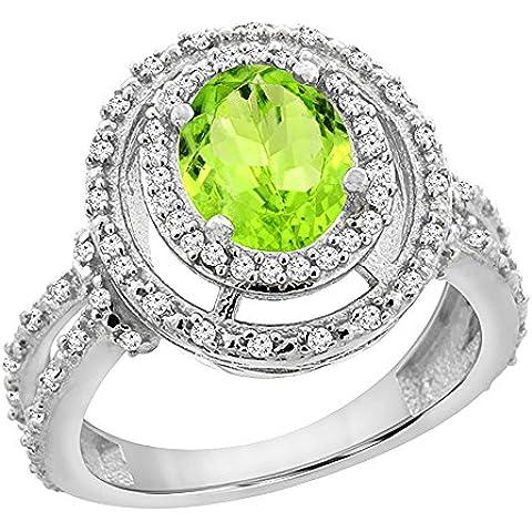 Revoni 14ct Oro Blanco natural Peridot Anillo Ovalado 8x 6mm Doble Diamante de Halo