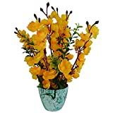 #10: Thefancymart artificial Blossom Flower plant Shining Yellow color (12 inchs/ 30 cms) arrangement in Marble Finish Pot