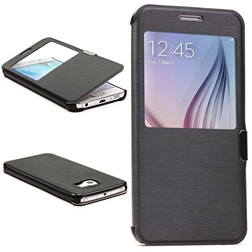 Urcover® View Case Handy Schutz-Hülle | Samsung Galaxy S6 Edge | Hart Kunststoff Schwarz | Elegant Wallet Cover Sicht-Fenster | leichte Schale dünne Tasche