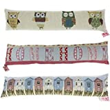 Patterned Fabric Cushioned Home Door Draught Excluder 88cm - Beach Huts