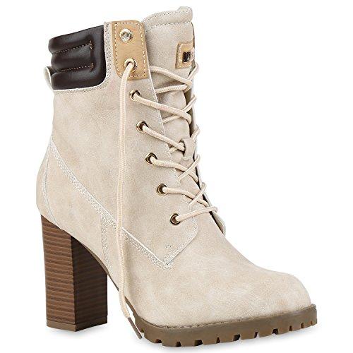 Damen Schnürstiefeletten Stiefeletten Worker Boots Wildleder-OptikHalbhohe Stiefel Schnürer Wildleder-Optik Schuhe 122664 Nude 36 Flandell