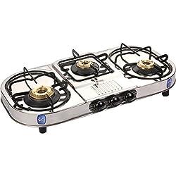 Suraksha Shine Smart Boss Stainless Steel Body 3 Tri Pin Brass Burner Gas Stoves.
