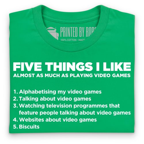 Five Things I Like - Playing Video Games T-Shirt, Damen Keltisch-Grn