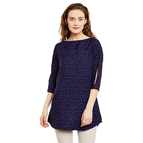 Ruhaan's Women's Crepe Navy Blue Color Star Printed Tunic (BS_7046_S)