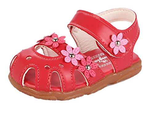 La vogue baby Mädchen Blume Sandalen Lauflernschuhe Rot 22 Innenlänge 13.8cm