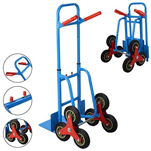 COSTWAY Sackkarre Treppenkarre Treppensteiger Transportkarre Stapelkarre Ladekarre Rollkarre Paketkarre klappbar Tragfähigkeit bis 200kg 3-Rad-Mechanismus