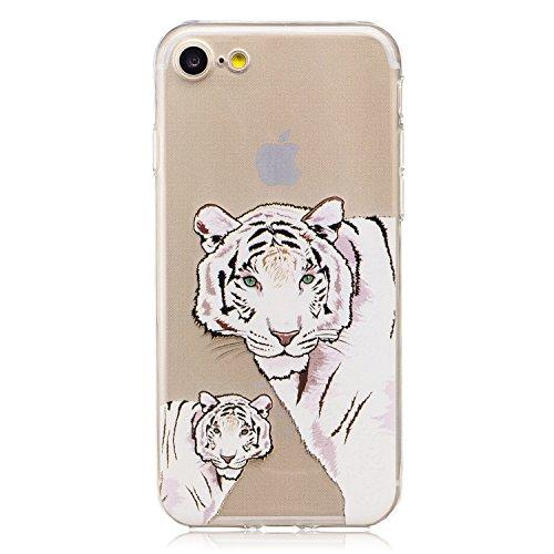 Pour iPhone 7/7G (4,7 zoll) Case Cover, Ecoway TPU Clear Soft Silicone motifs peints Housse en silicone Housse de protection Housse pour téléphone portable pour iPhone 7/7G (4,7 zoll) - Vigne fleur bl tigre