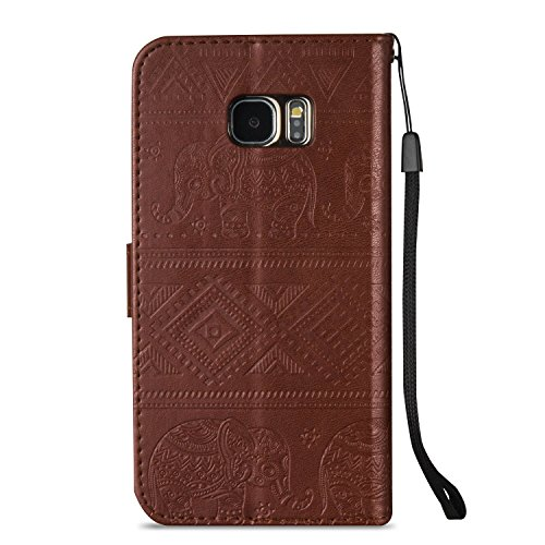 Für Samsung Galaxy S7 Edge Premium Leder Schutzhülle, weiche PU / TPU geprägte Textur Horizontale Flip Stand Case Cover mit Lanyard & Card Cash Holder ( Color : Red ) Brown