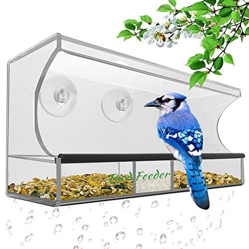fenster vogelhaus Premium Futterspender Vogel – AnTom Vogelhaus mit Stander mit Abnehmbarem Tablett, Ablasslöcher und 3 Saugnäpfe - Groß, Transparent