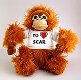Orangután de peluche (juguete) con Amo Scar en la camiseta (nombre de pila/apellido/apodo)