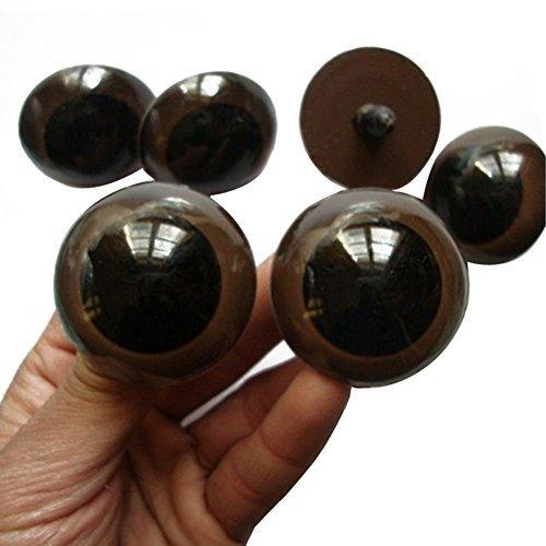 """100piezas de 12mm/18mm/20mm/24mm Marrón plástico seguridad ojos para muñeca de oso de peluche de animales marioneta Doll making (12mm/0.47"""")"""