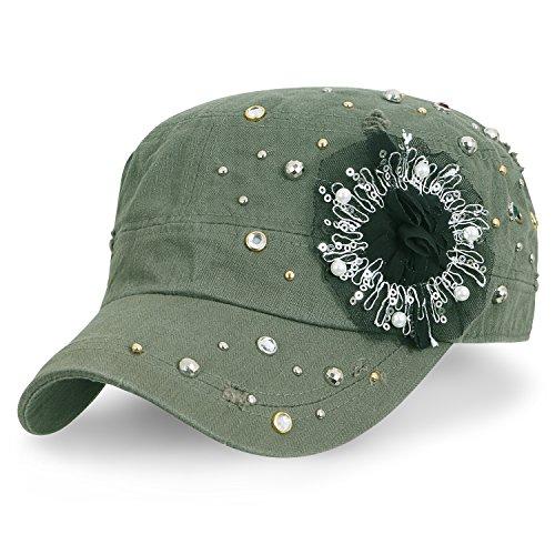 ililily klassischer Stil abgenutztes Aussehen Baumwolle Armee Hut Laced Blumenmuster Militär Kadett Cap , Olive Green (Olive Hut Militär)