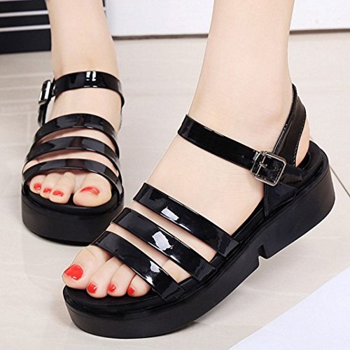 TAOFFEN Damen Fashion Open Toe Ankle Strap Shoes Slingback Chunky Heels Sandalen Schwarz