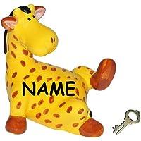"""Preisvergleich für große Spardose - """" Giraffe / Zootier """" - incl. Name - stabile Sparbüchse - incl. Schlüssel & Schloß - Figur aus Porzellan / Keramik - Kinderspardose / Kindersparschwein - Kinder Baby - Tiere Afrika Geld Sparschwein lustig witzig Okapi Savanne"""