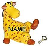 Unbekannt XL Spardose -  Giraffe / Zootier  - incl. Name - mit Schlüssel - stabile Sparbüchse aus Porzellan / Keramik - Tiere Afrika Geld Sparschwein lustig witzig / ..