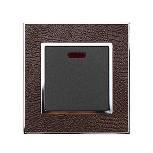 Wallpad Echt Leder Zink Legierung Panel Wandleuchte Schalter, Steckdose, Sockel, 45A Cooker Switch Double Pole DP Switch -