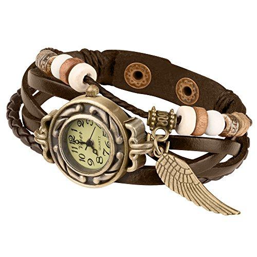 Taffstyle Damen-Armbanduhr Retro Vintage Geflochten Leder-Armband mit Charms Anhänger Analog Quarz Uhr Flügel Gold Braun