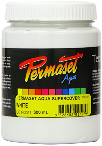 Permaset Aqua - Tinta para serigrafía textil (300 ml, ecológico, tinta blanca)