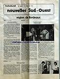 NOUVELLES SUD-OUEST [No 2023] du 19/12/1985 - REGION DE BORDEAUX - AGEN (LOT-ET-GARONNE) - DEPART EN RETRAITE DE M. ROGER CONDUCHE - REMISE DE RECOMPENSES PAR M. CHARLES VINCENT - BORDEAUX (GIRONDE) - DEPART EN RETRAITE DE MM. GUY REY ET JEAN DUBARRY PAR M. HERVE MASANTE - BORDEAUX (GIRONDE) - DEPART EN RETRAITE DE M. PIERRE LATRY PAR M. JEAN-MARIE LAVERGNE.