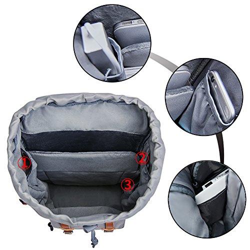 Canvas Rucksack, Casual Daypack mit USB Charge Port Backpack Schulrusack Laptoprucksack für Freitzeit Arbeit Campus Schule Reise, Grau - 3