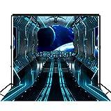Musykrafties Futuristic Hallway Aoard Spaceship Backdrop - Pancarta extra grande para decoración de postre, fondo de mesa Photobooth Prop 10 x 10 pies